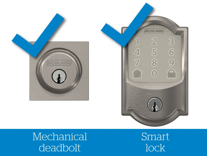 Schlage mechanical deadbolt and smart lock with blue check marks.
