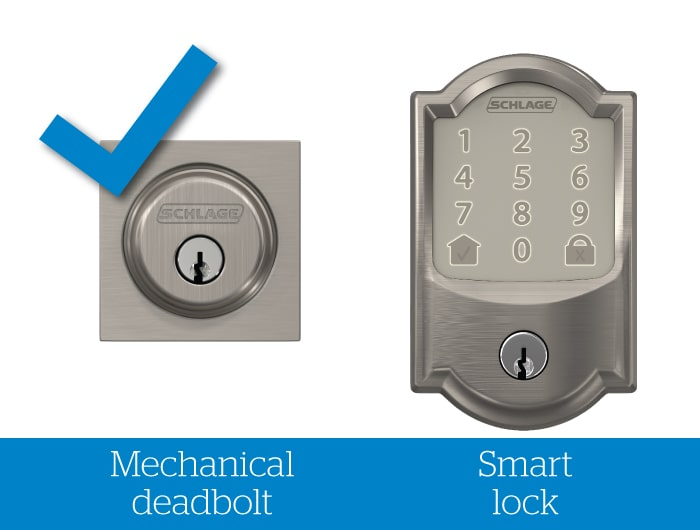 Schlage mechanical deadbolt with blue check mark and smart lock without check mark.