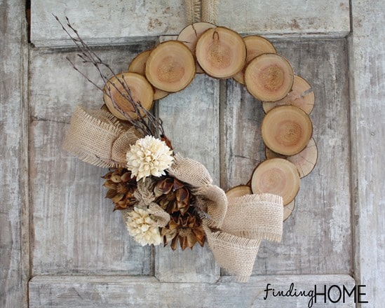Wood and burlap fall wreath.