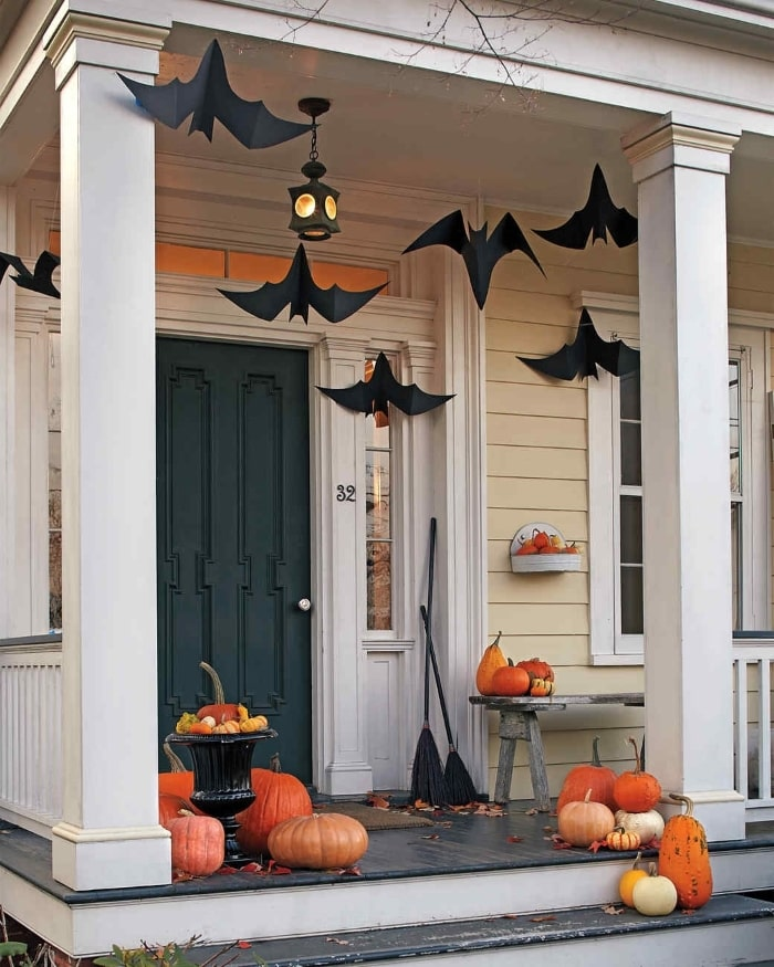 DIY hanging bats on front porch