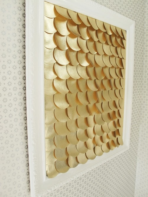 DIY fish scale gold wall art