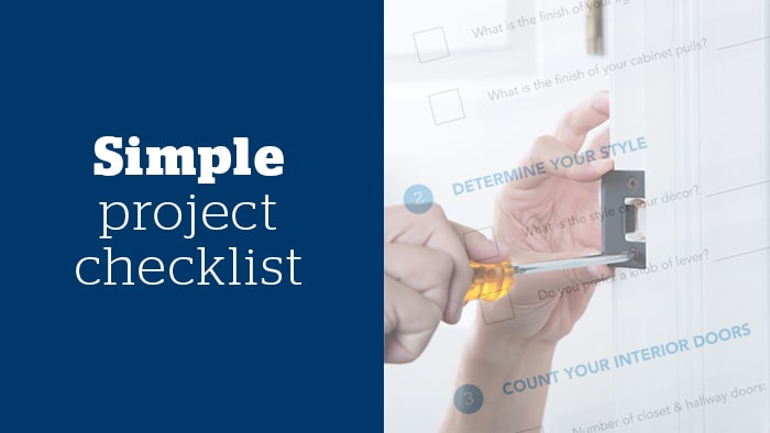 Simple project checklist for buying Schlage door hardware.