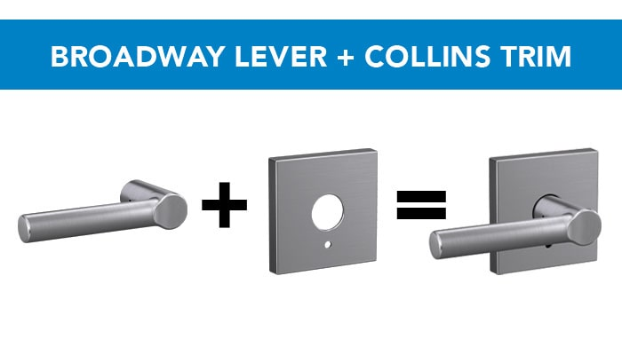 Schlage Broadway lever with Collins trim in Satin Chrome finish.