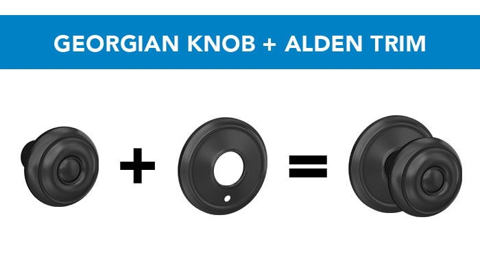 Schlage Georgina knob with Alden trim.