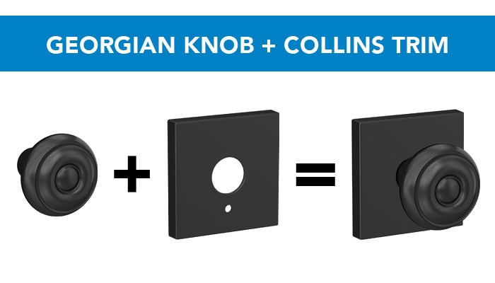 Schlage Georgian knob with Collins trim.
