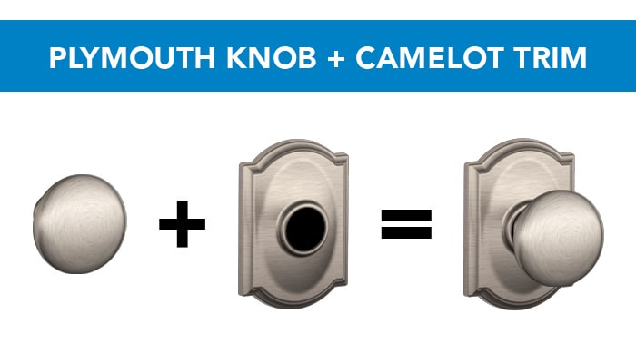 Schlage Plymouth knob with Camelot trim in Satin Nickel finish.