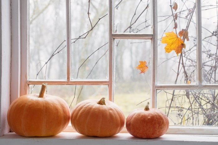 Three pumpkins sitting in windowsill.