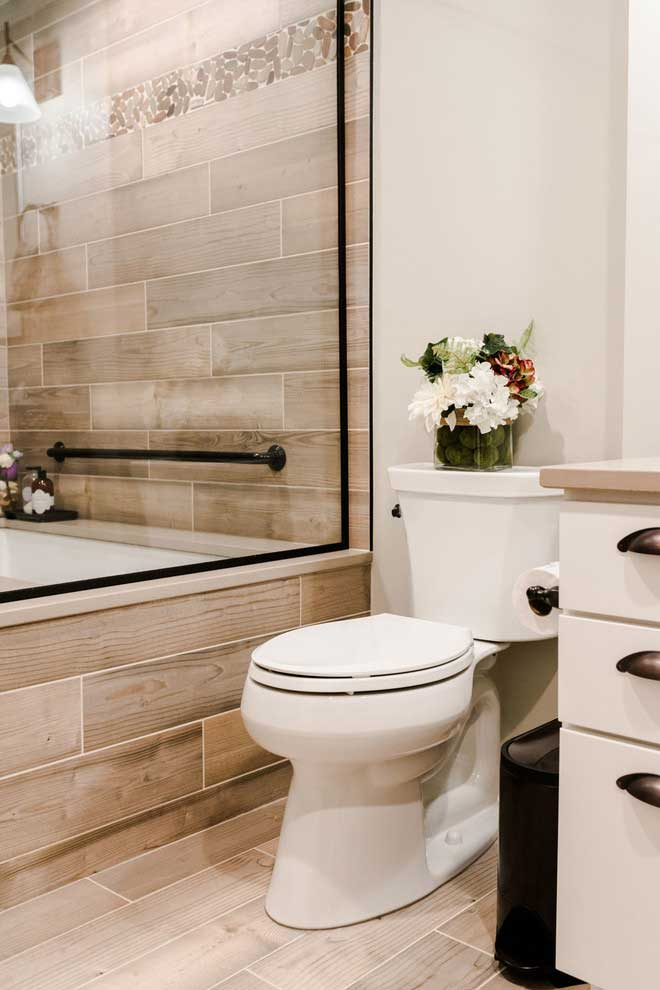 Accessibly designed bathroom for aging in place.