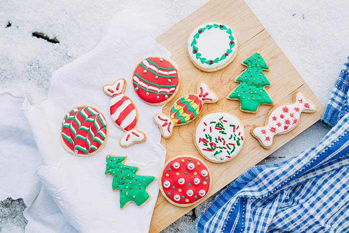 Iced Christmas sugar cookies.