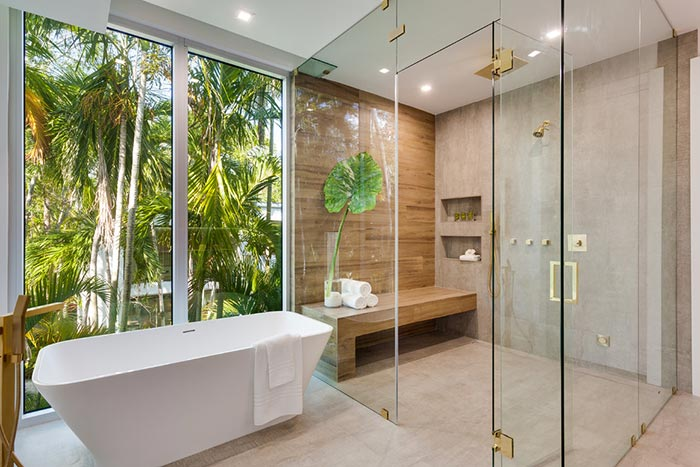 Contemporary bathroom with no threshold shower.
