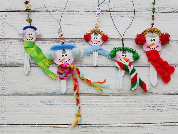 DIY snowman key ornaments