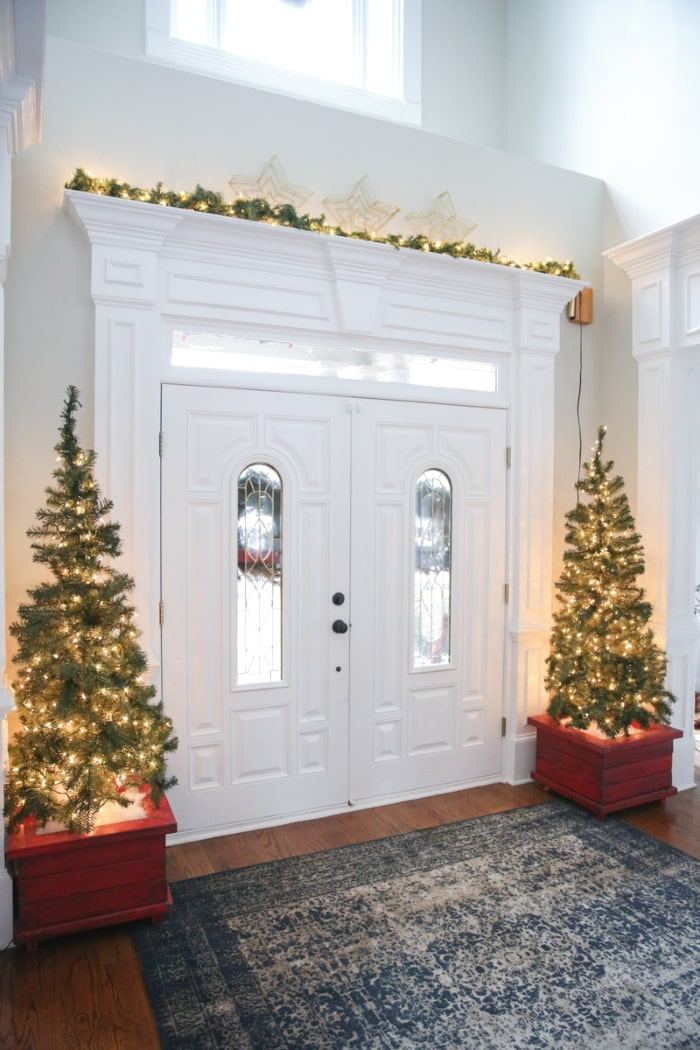 Double door entryway with holiday decor