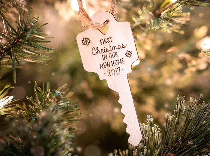 Engraved house key ornament