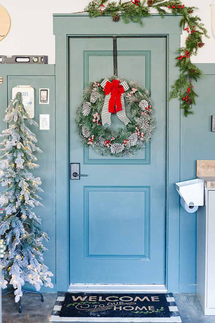 Love & Renovations holiday door with Schlage Touch lever.