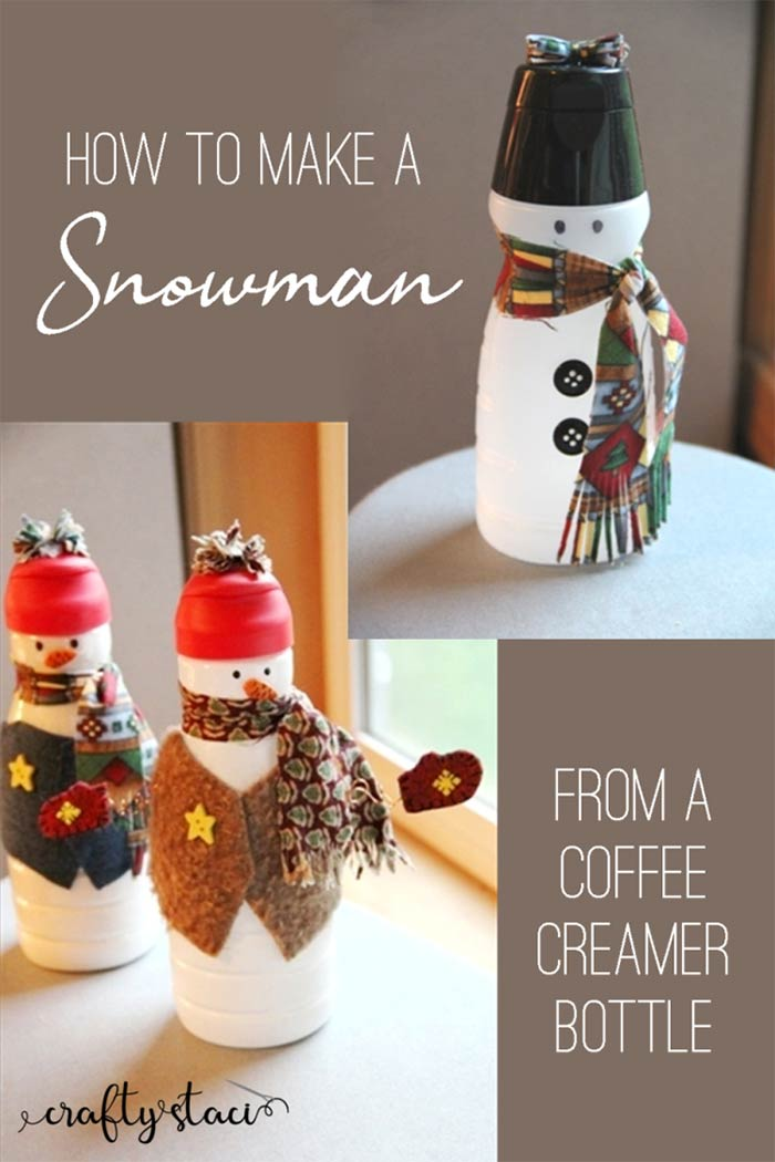 Recycled coffee creamer bottle snowman