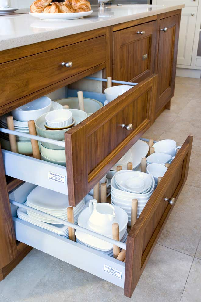 Kitchen cabinet drawers.