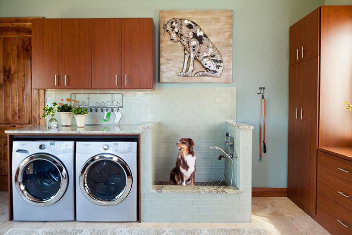 Laundry room with dog washing station.
