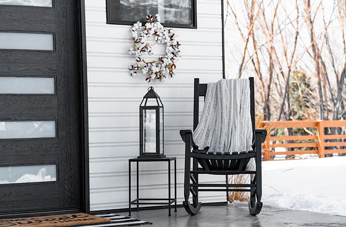 Modern farmhouse winter front porch.