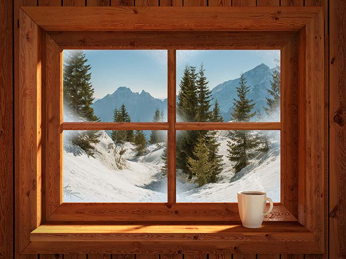 View of winter landscape from cabin window.