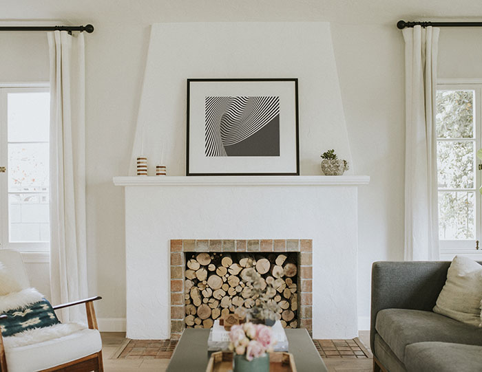 Minimalist fireplace decor.