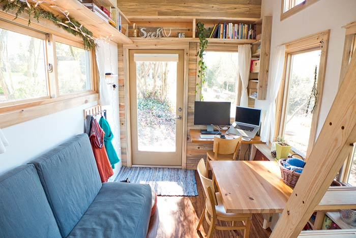 Tiny home living space.
