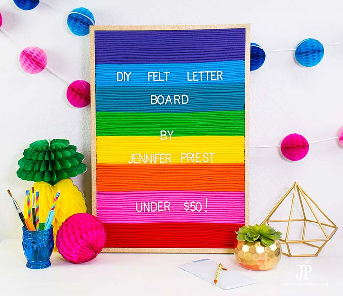 DIY felt letter board with rainbow design.