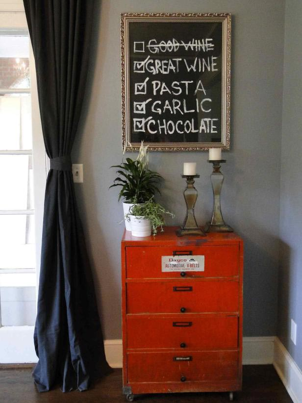 DIY framed chalkboard.