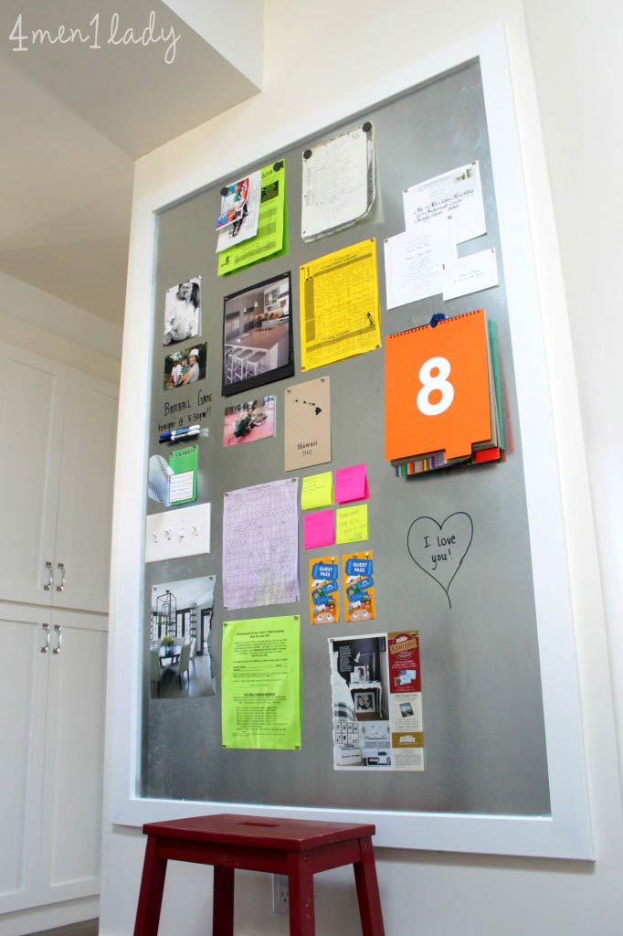 DIY magnetic family planner board.