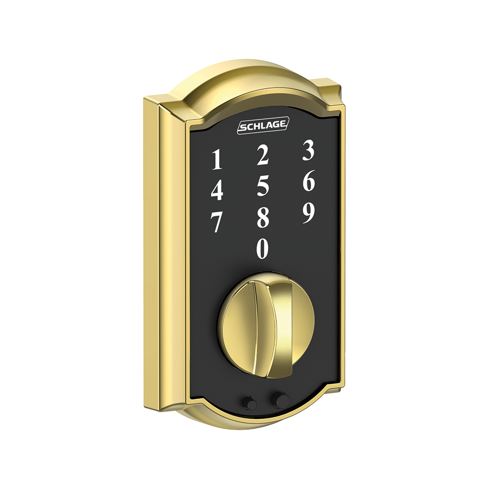 Schlage Touch Keyless Touchscreen Deadbolt with Camelot trim paired with Camelot Handleset and Flair Lever with Camelot trim