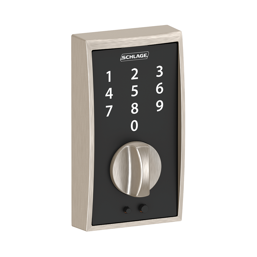 Schlage Touch Keyless Touchscreen Deadbolt with Century trim paired with Merano Lever with Century trim