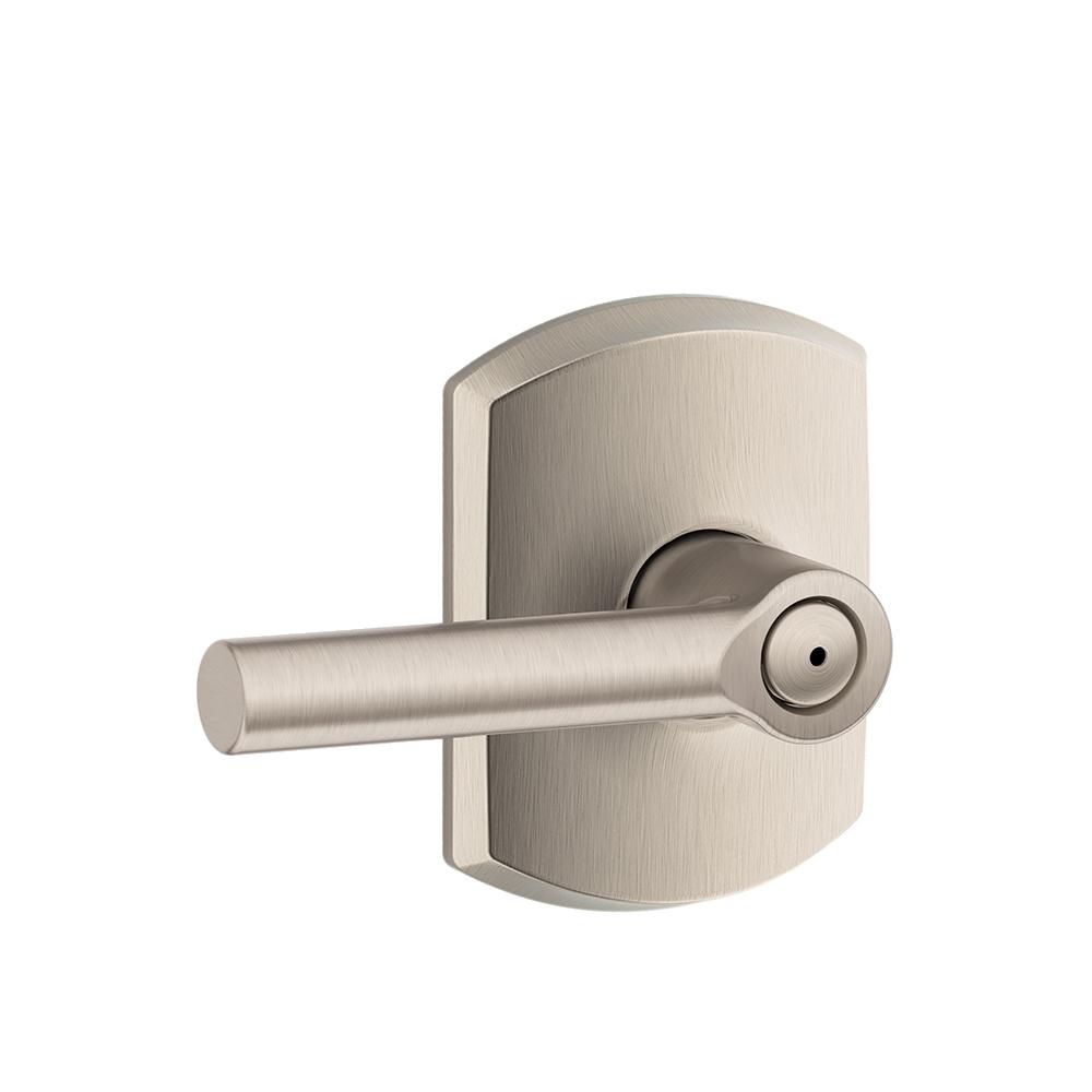 Greenwich Single Cylinder Handleset and Broadway Lever Schlage F60 GRW 619 BRW Satin Nickel