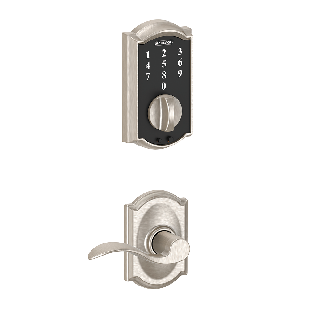 Schlage Touch Keyless Touchscreen Deadbolt with Camelot trim paired with Accent Lever with Camelot trim