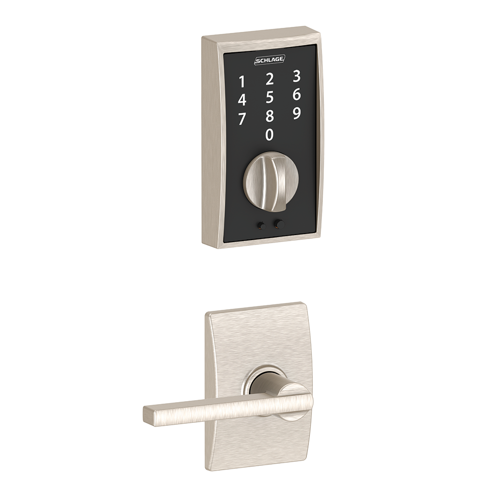 Schlage Touch Keyless Touchscreen Deadbolt with Century trim paired with Latitude Lever with Century trim