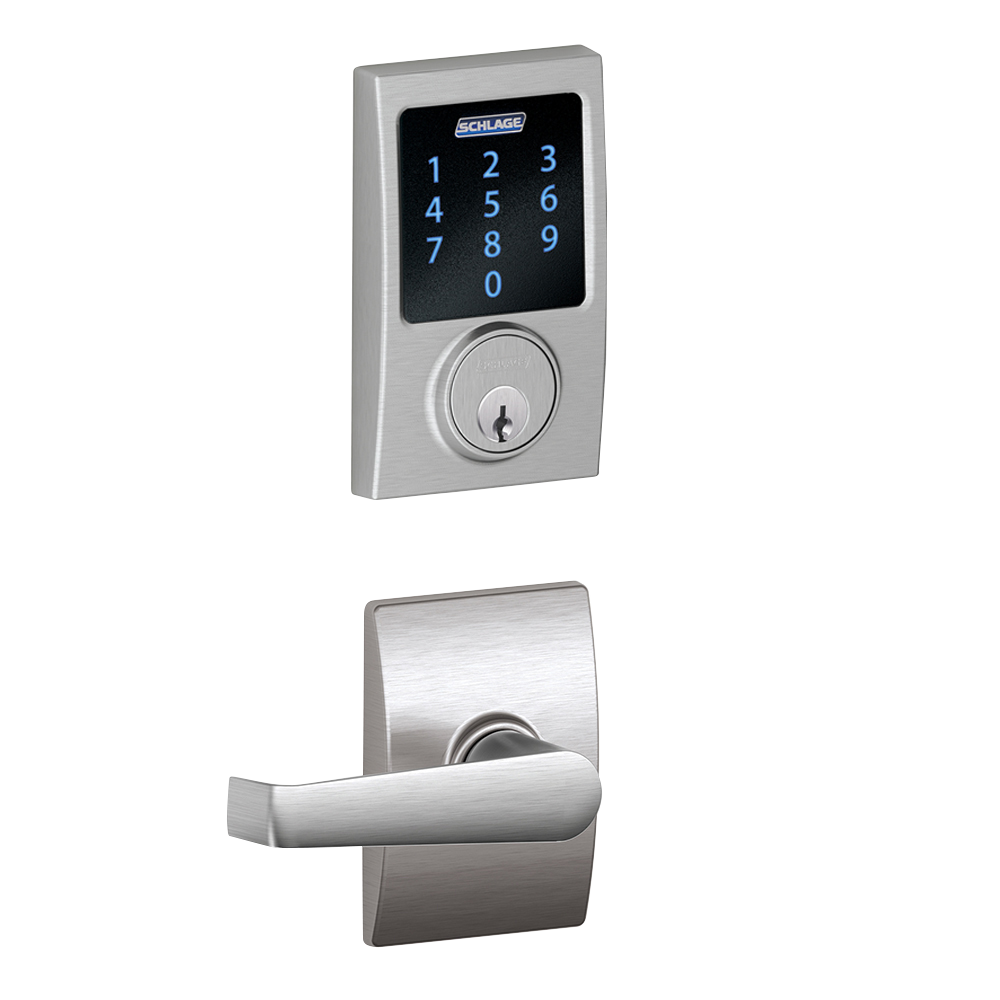 Schlage Connect Smart Deadbolt with alarm with Century trim, Z-wave enabled paired with Elan Lever with Century trim