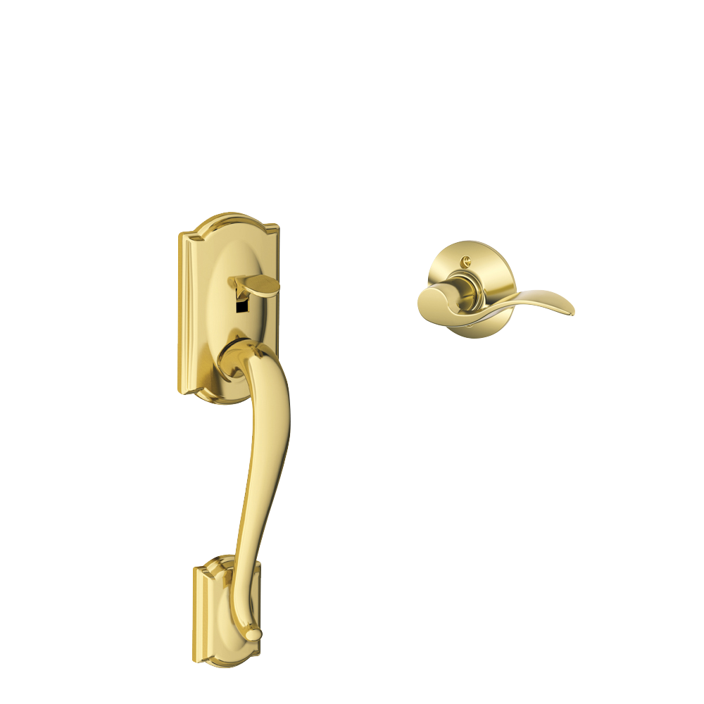 Satin Nickel Schlage FE285 CAM 619 FLA RH Camelot Trim Lower Half Front Entry Handleset with Flair Right Hand Lever