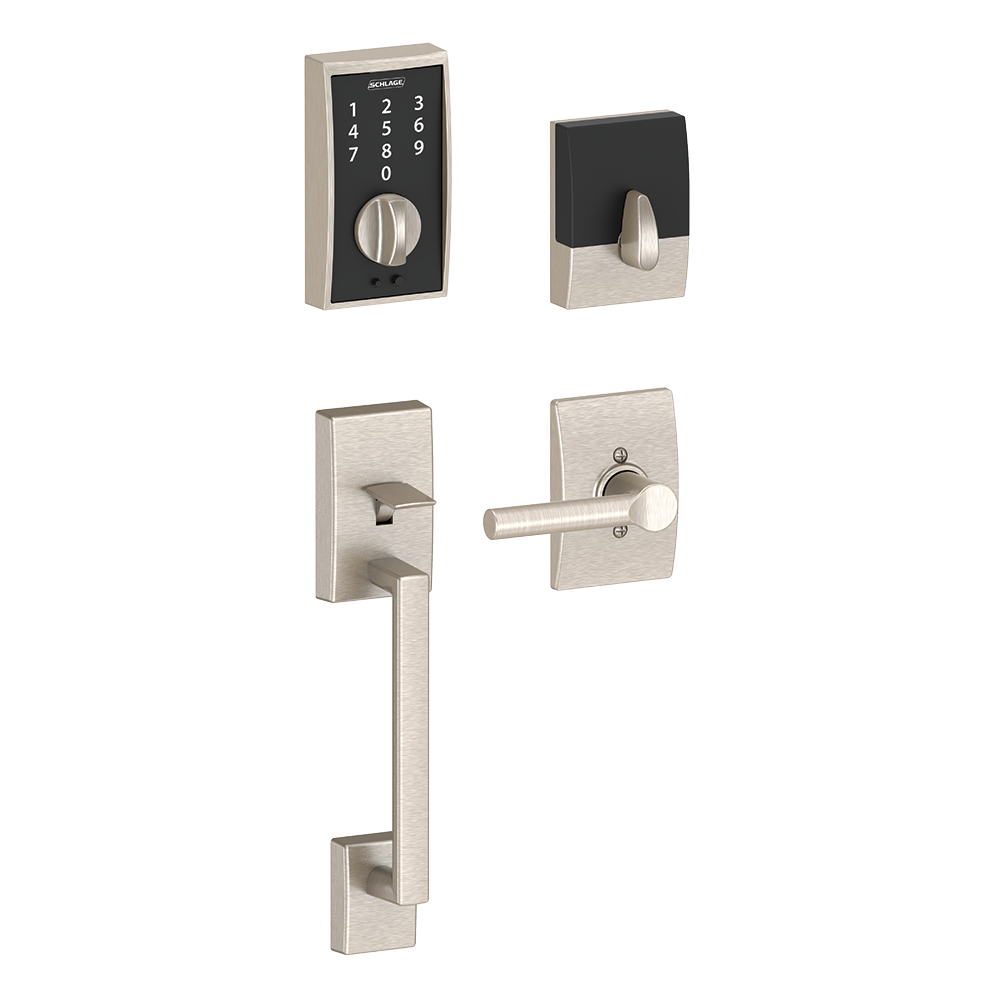 Schlage Touch Keyless Touchscreen Deadbolt with Century trim paired with Century Handleset and Broadway Lever with Century trim