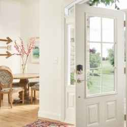 White front door with windows | Schlage