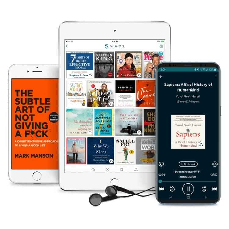 Scribd shown on mobile devices.