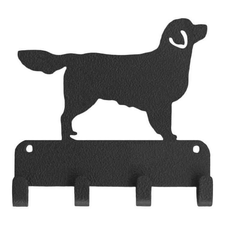 Wall-mounted dog leash and key holder.