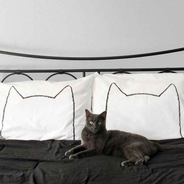 Cat laying on bed with cat print pillow cases.