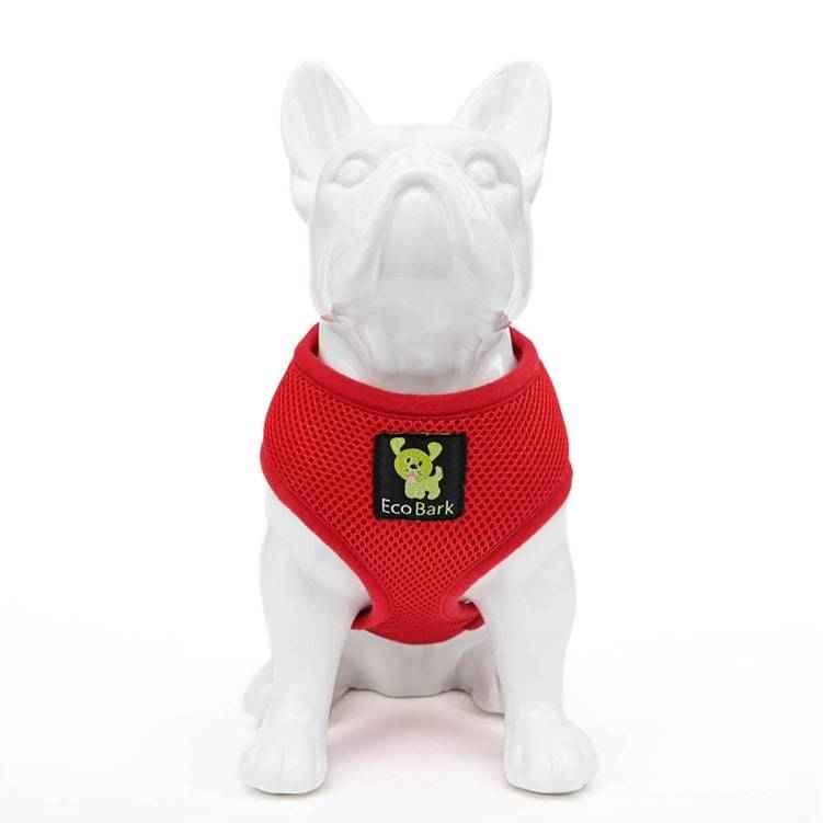 Eco Bark dog harness in red.