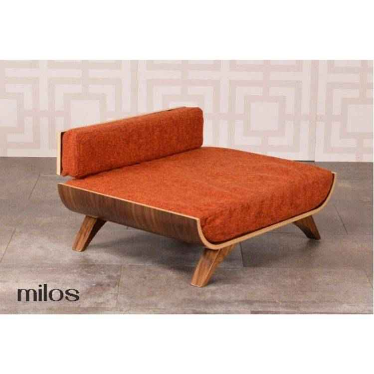Milos mid-century-modern dog bed with copper tweed cushion.
