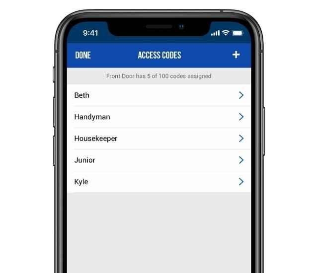 Schlage Home app access codes screen