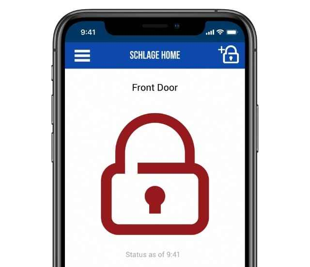 Schlage Home app lock/unlocking screen.