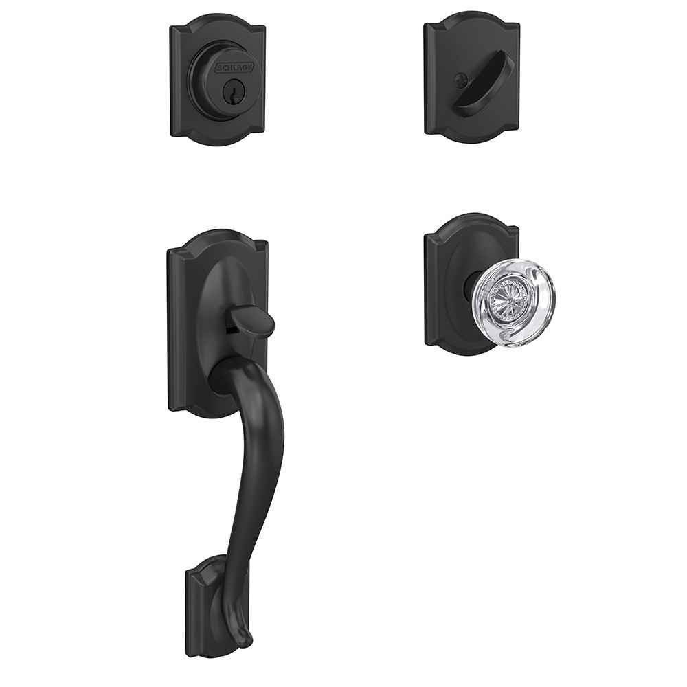 Schlage Custom Camelot Single Cylinder Handleset and Interior Hobson Glass Knob with Camelot Trim
