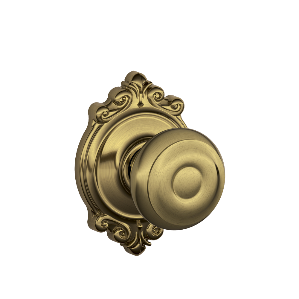 Georgian Knob With Brookshire Trim In Antique Brass Finish