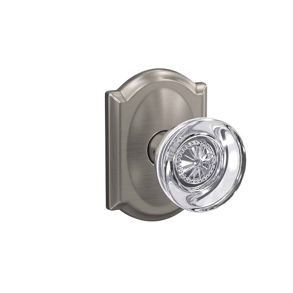 Glass door knob - Hobson knob with Camelot trim - Schlage