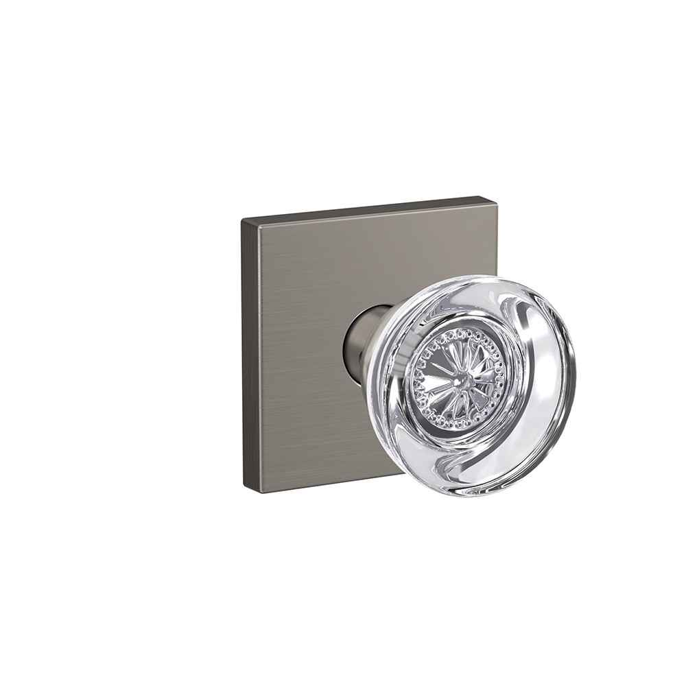 Glass door knob - Hobson knob with Collins trim - Schlage