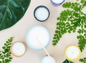 Candles and greenery.